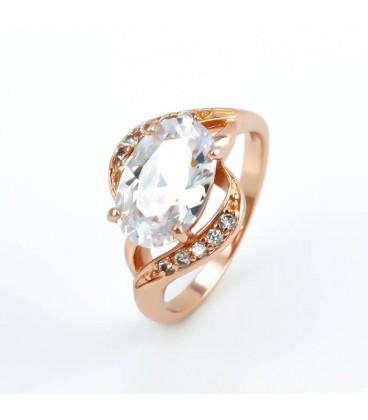 ékszer webshop Fehér cirkónia köves, rózsaaranyozott gyűrű -