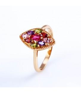Gold filled, színes cirkónia kövekkel kirakott gyűrű