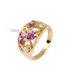 ékszer webshop Elegáns gold filled koktél gyűrű - Lila-Fehér
