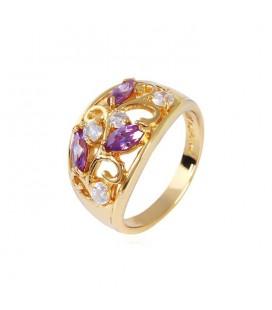 Elegáns gold filled koktél gyűrű - Lila-Fehér