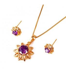 Lila cirkónia kővel díszített virág ékszerszett - gold filled