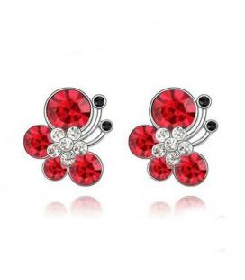 ékszer webshop Piros kristályos pillangós ékszerszett