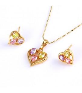 Gold filled szív ékszerszett, színes kövekkel