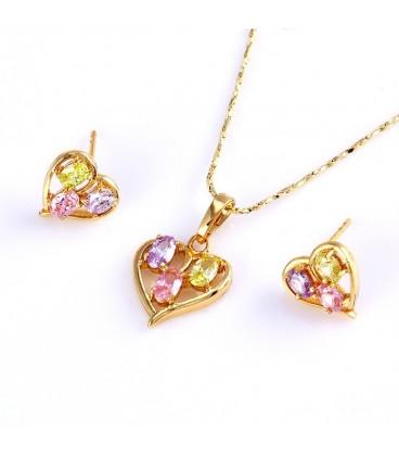ékszer webshop Gold filled szív ékszerszett, színes kövekkel