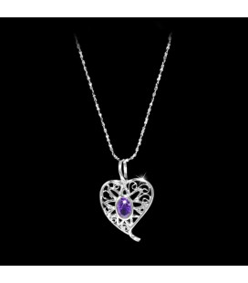 925 ezüst, ametiszt lila cirkónia köves szív medál, nyaklánccal