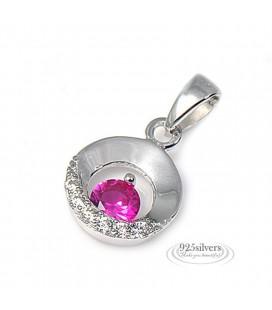 ékszer webshop 925 ezüst, rózsaszín cirkónia köves kör medál