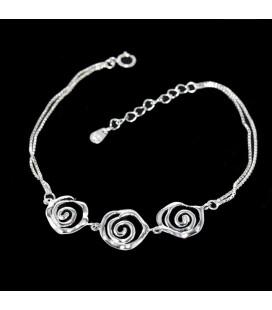 925 ezüst, rózsa mintás karkötő