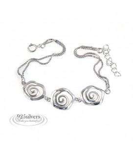 ékszer webshop 925 ezüst, rózsa mintás karkötő