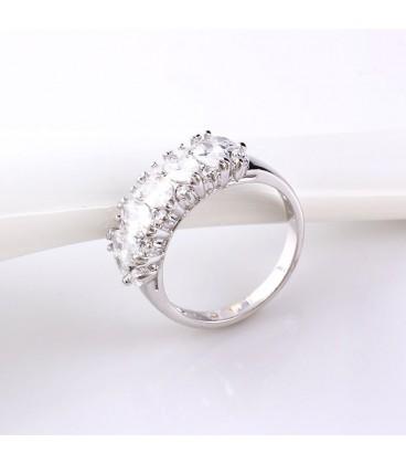 ékszer webshop Fehér zircon köves gyűrű, ródium bevonattal