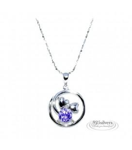 925 ezüst, lila cirkónia szívek kör medál, nyaklánccal