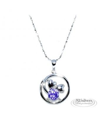 ékszer webshop 925 ezüst, lila cirkónia szívek kör medál