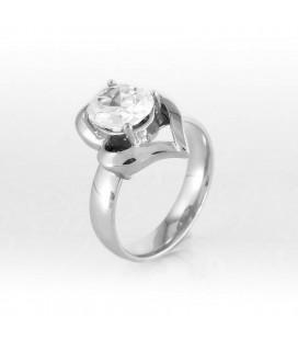 ékszer webshop Fehér cirkónia köves, szív alakú nemesacél gyűrű