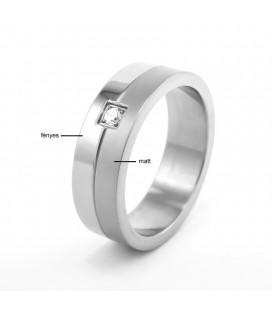 ékszer webshop Nemesacél gyűrű, fehér cirkónia kővel díszítve