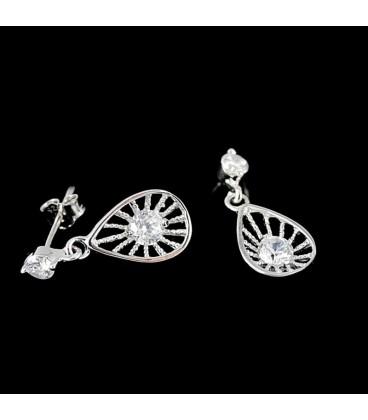 ékszer webshop 925 ezüst, csepp alakú fülbevaló, cirkónia