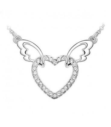 ékszer webshop Fehér kristályos szív nyaklánc