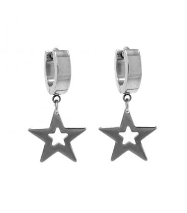 ékszer webshop Nemesacél karika fülbevaló, csillag függővel