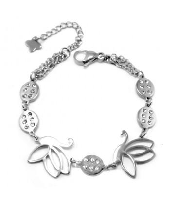 ékszer webshop Nemesacél karkötő pillangókkal és csillogó