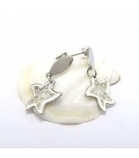 ékszer webshop Csillag alakú, mintás nemesacél fülbevaló